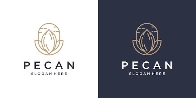 Pekannuss strichzeichnungen logo-design