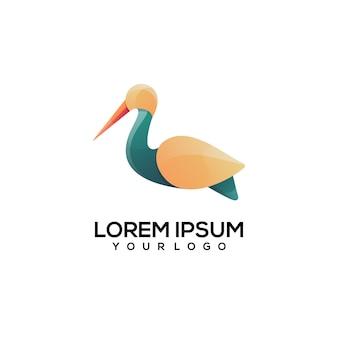 Pelikan einfache logo-farbillustration