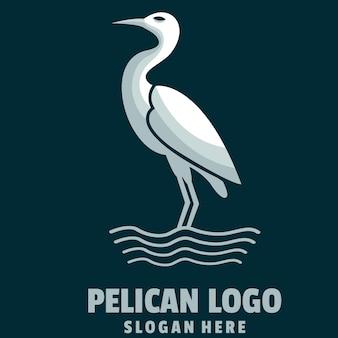 Pelikan einfacher cartoon-logo-vektor
