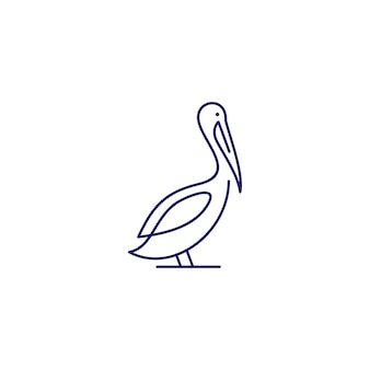 Pelikan-golfvogelküstenstrandlogo-vektorikonenillustration