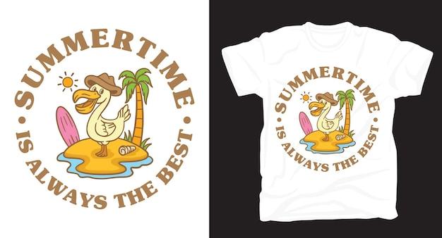 Pelikan in der inselillustration mit typografie-t-shirt-design