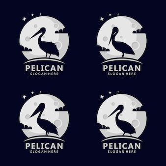 Pelikan-konzeptlogo auf dem mond