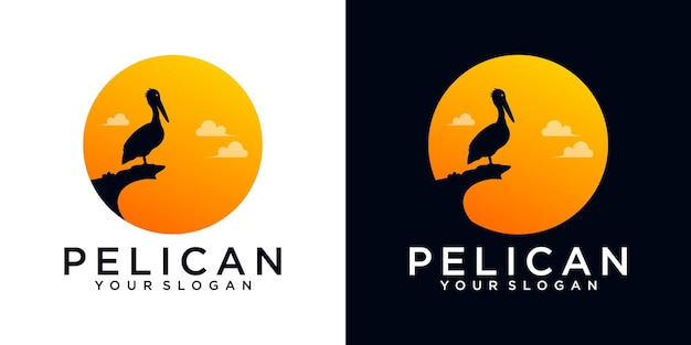 Pelikan-logo-referenz für unternehmen Premium Vektoren