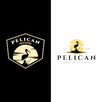 Pelikan vogel logo vintage mit sonne hintergrund illustration design