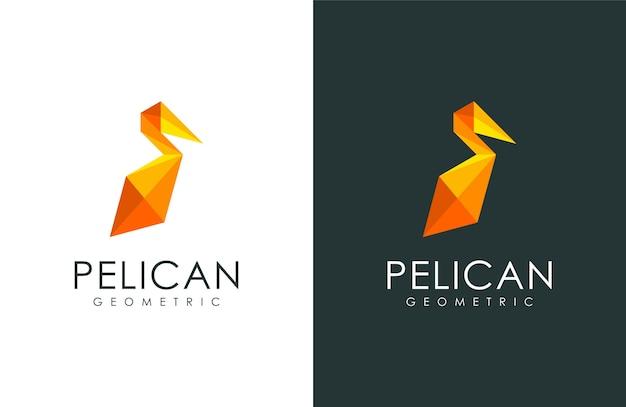 Pelikanlogo, tierillustration mit modernem geometrischem stil