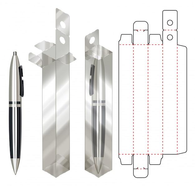 Pen box verpackung gestanzte vorlage. 3d
