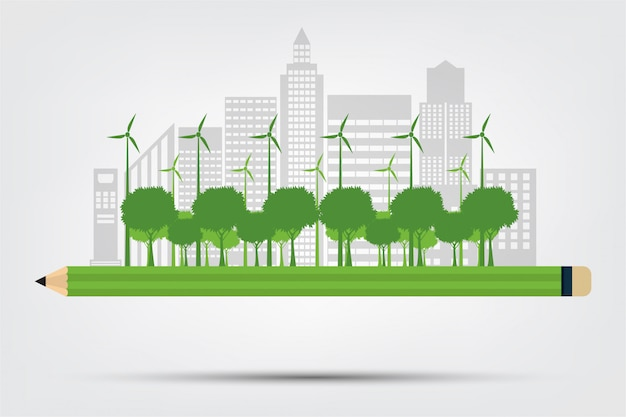 Pencil ökologie und umweltkonzept, stadt mit umweltfreundlichen ideen