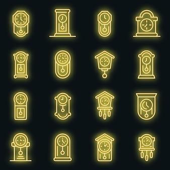 Pendeluhr-symbole gesetzt. umrisse von pendeluhr-vektorsymbolen neonfarbe auf schwarz