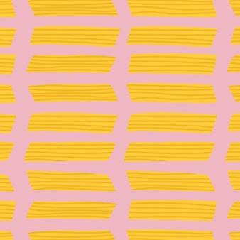 Penne pasta essen muster vektor hintergrund im rosa niedlichen doodle-stil