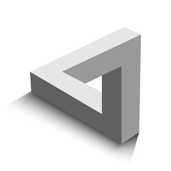 Penrose-dreieck isoliert auf weißem hintergrund, vektorillustration