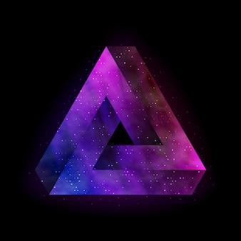 Penrose unmögliches dreieck mit weltraum nach innen.