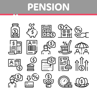 Pension ruhestand sammlung icons set
