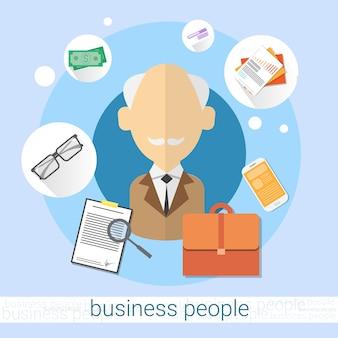 Pensionär senior man bank office client symbol flach