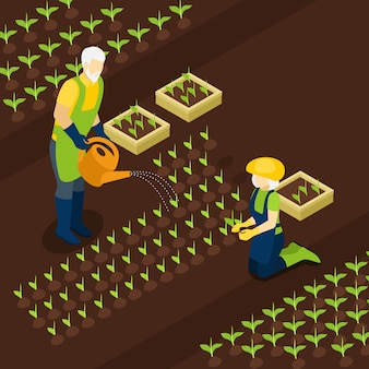 Pensioniertes farmers life isometric banner isomentric