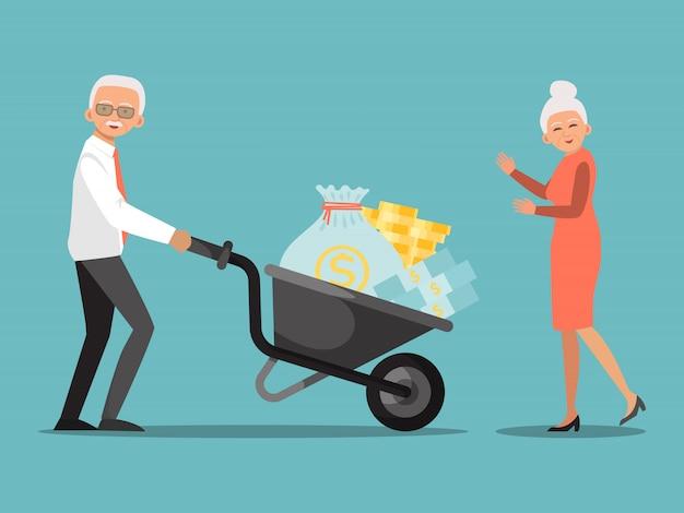 Pensionskasseninvestition. alter mann, der schubkarre mit geld in bank schiebt. finanzsystem für senioren, hilfe von der regierung