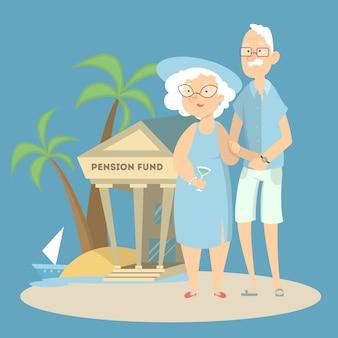 Pensionskassenkonzept. großeltern mit bank im urlaub.