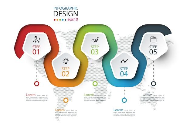 Pentagon-etikett mit farbigen linien verknüpften infografiken.