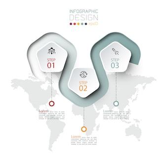 Pentagon-etikett mit farbigen linien verknüpften infografiken