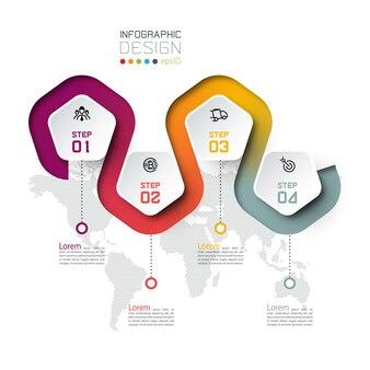 Pentagon-label mit farbigen linien verknüpften infografiken.