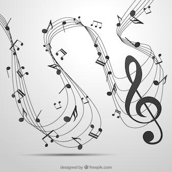 Pentagram hintergrund mit violinschlüssel