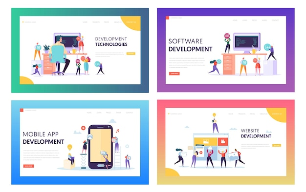 People character make software development landing page.