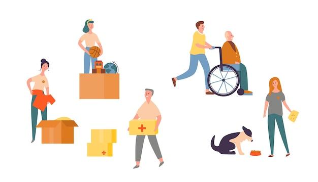 People character volunteer care für senioren. bedürftige community-hilfe. wohltätigkeit für tiere zur unterstützung von obdachlosen hunden. bürger spenden kleidung zu älteren in rollstuhl-flachen cartoon-vektor-illustration