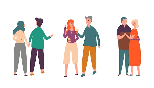 People couple character date set. familienliebhaberpaar zusammen spazieren gehen, eis essen und reden. erwachsener mann tanz mit frau romantische valentinstag collcetion. flache karikatur-vektor-illustration der glücklichen beziehung