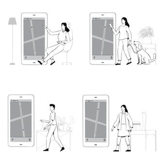 People doodles verwenden eine gps-steuerung oder ein lieferverfolgungsset