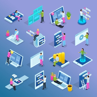 People interfaces isometric set