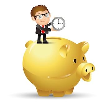 People set business geschäftsleute investieren zeit ins sparschwein