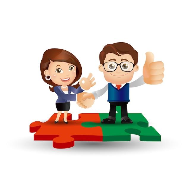 People set - business - personen, die auf puzzleteilen stehen
