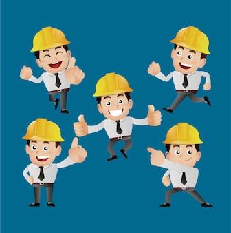 People set profession ingenieur mit verschiedenen posen