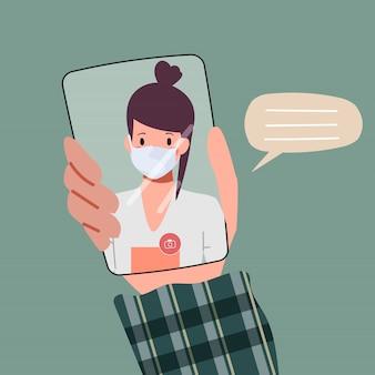 People videokonferenz zur kommunikation auf dem smartphone.