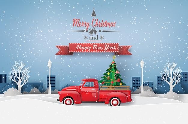 Peper kunst der frohen weihnachten und der wintersaison mit rotem lkw tragen weihnachtsbaum.