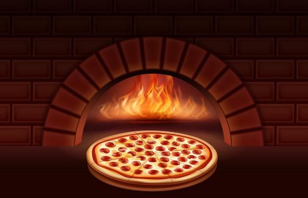 Peperoni-pizza im ofen in flammen kochen