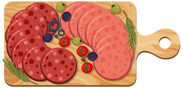 Peperoni und salami auf platte isoliert auf weißem hintergrund