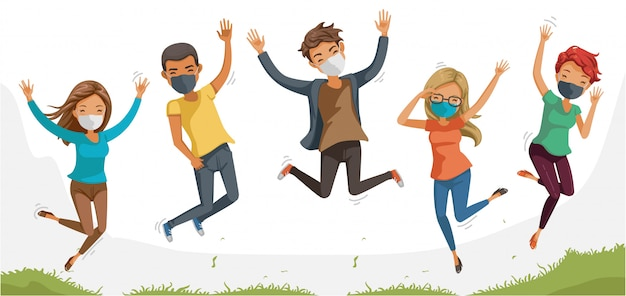 Pepleo-masken springen zusammen. jugendliche mit freunden palying und springen. person tragen gesichtsmaske schützen virus. soziale distanzierung und neues normales konzept. coronavirus im zusammenhang