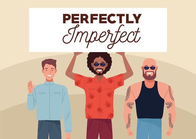 Perfekt unvollkommen drei personen, die banner heben