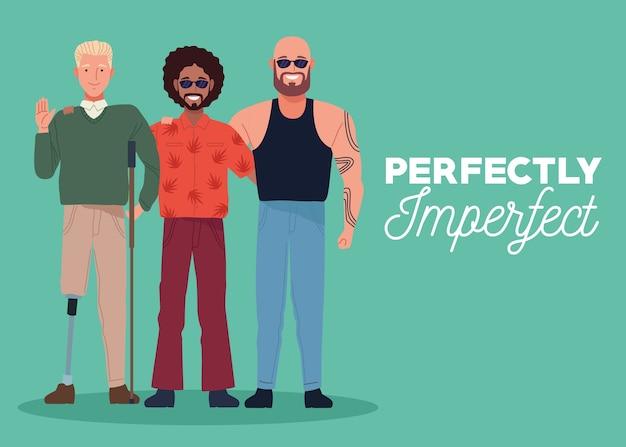 Perfekt unvollkommen drei personen im grünen hintergrund