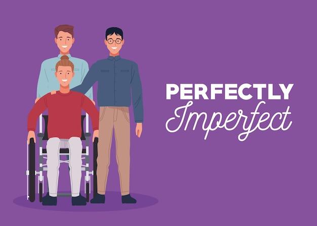 Perfekt unvollkommen drei personen in lila hintergrund