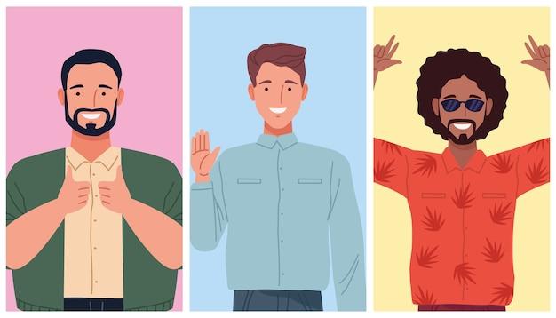 Perfekt unvollkommene comicfiguren für drei personen