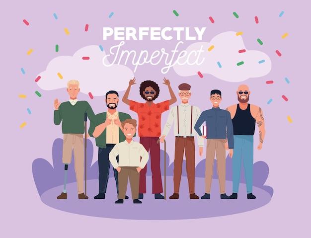 Perfekt unvollkommene menschen gruppieren charaktere mit konfetti im lager