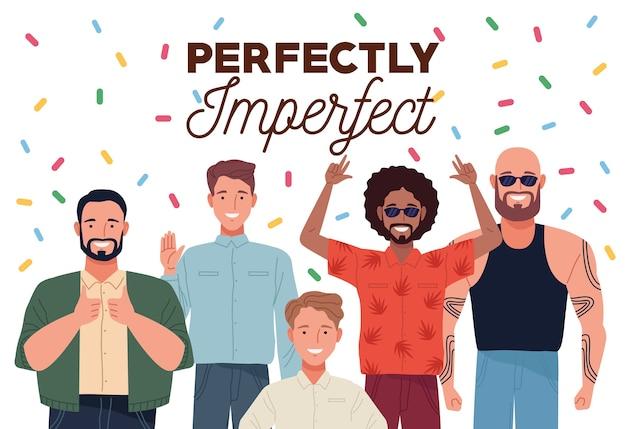 Perfekt unvollkommene menschen gruppieren charaktere mit konfetti