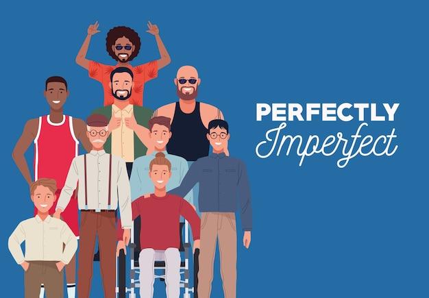Perfekt unvollkommene personen gruppieren charaktere in blauem hintergrund