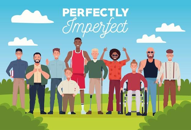 Perfekt unvollkommene personen gruppieren charaktere in der lagerszene