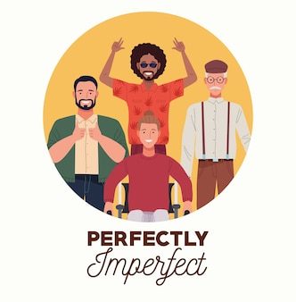 Perfekt unvollkommene personen gruppieren charaktere in kreisförmigen rahmen