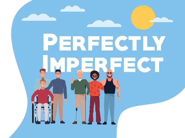 Perfekt unvollkommene personen gruppieren charaktere mit himmelhintergrund