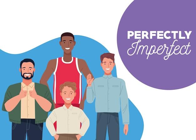 Perfekt unvollkommene personen gruppieren charaktere mit schriftzugsszene