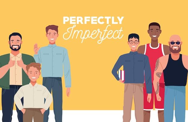 Perfekt unvollkommene personen gruppieren zeichen in gelbem hintergrund