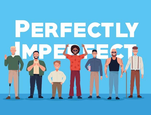 Perfekt unvollkommene personen gruppieren zeichen mit beschriftung im blauen hintergrund